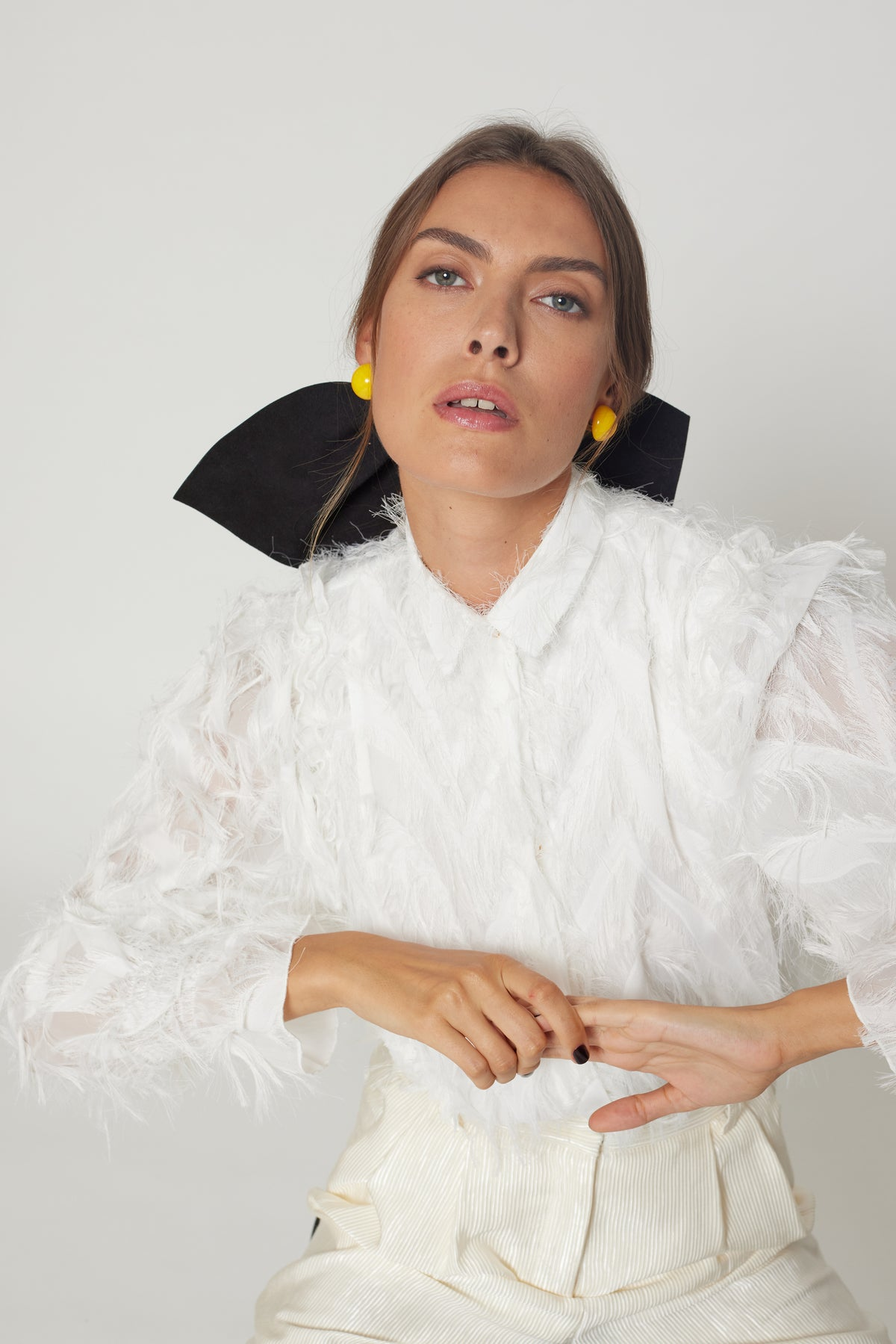 Imogen shirt in white feather