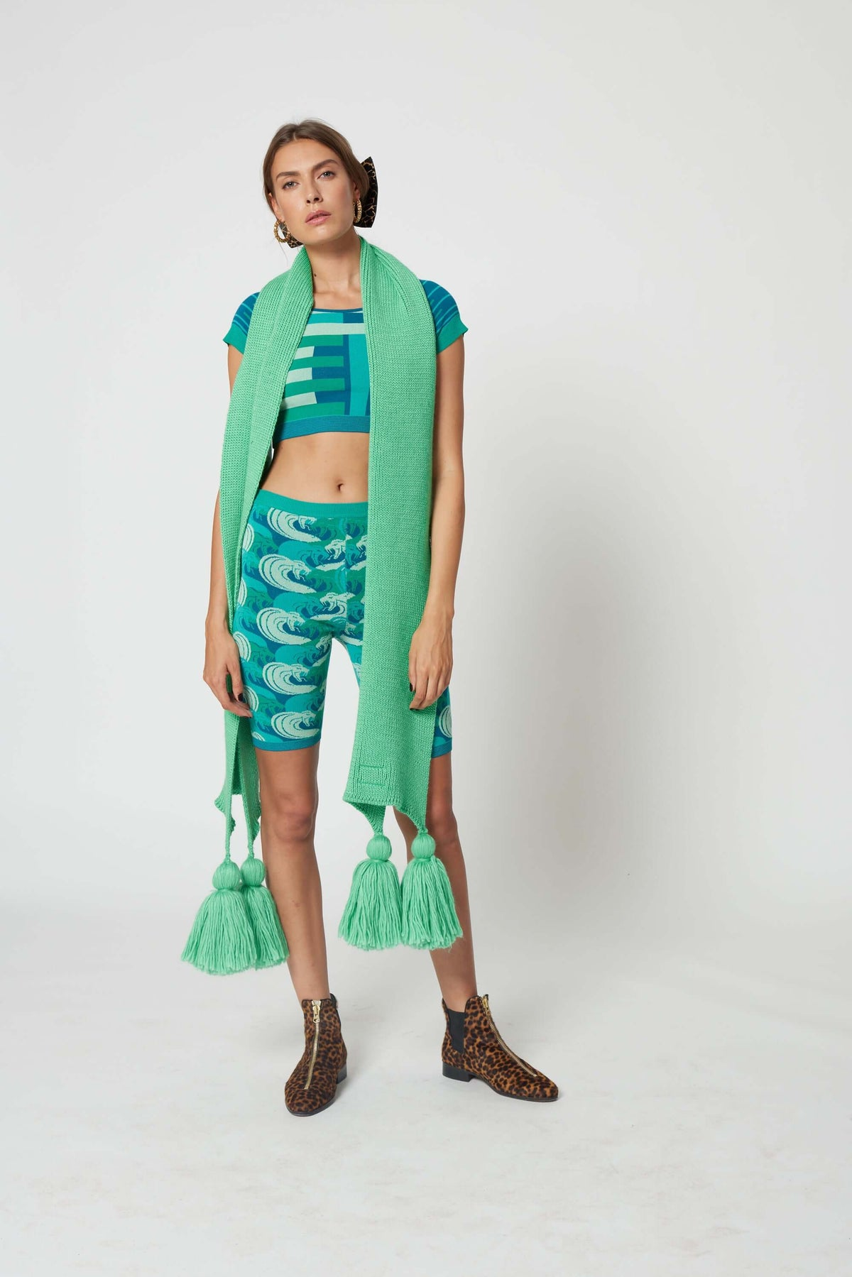 Ellis scarf in mint knit