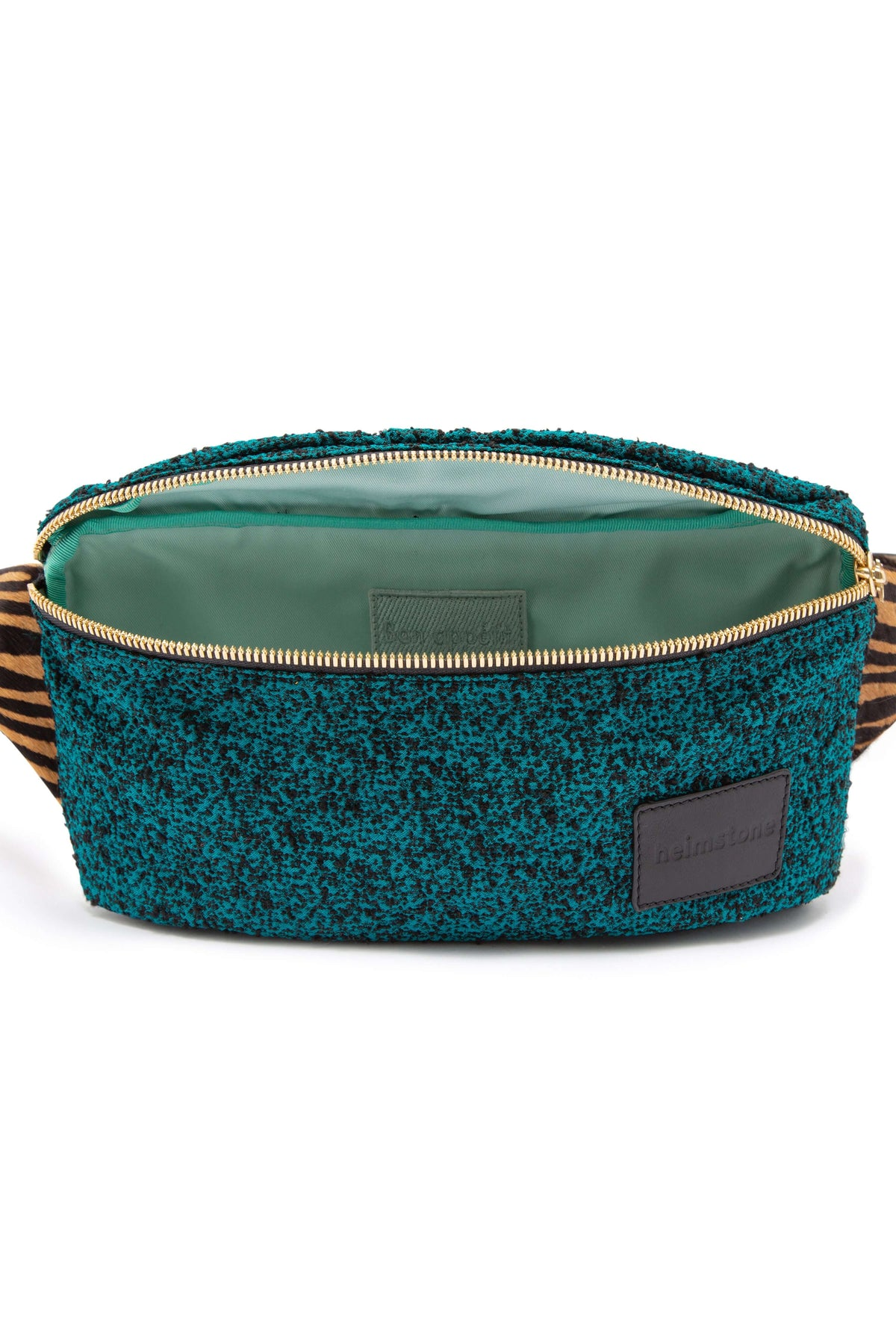 Fanny pack in drops fabric & tiger printed leather