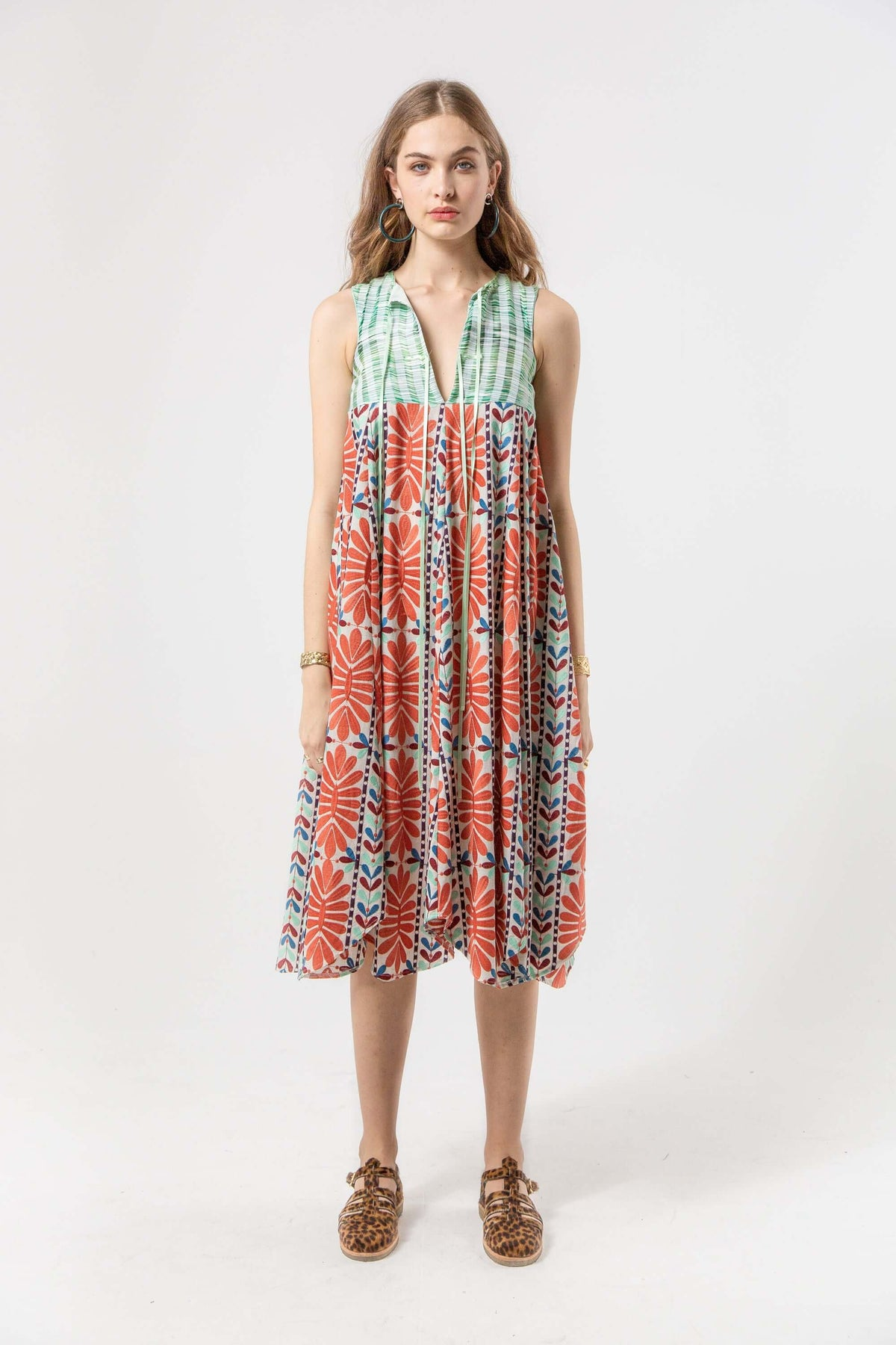 Celeste dress in mexican embroidery