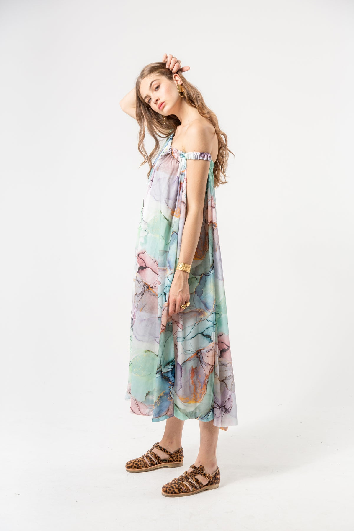 Penelope dress in aquarelle print