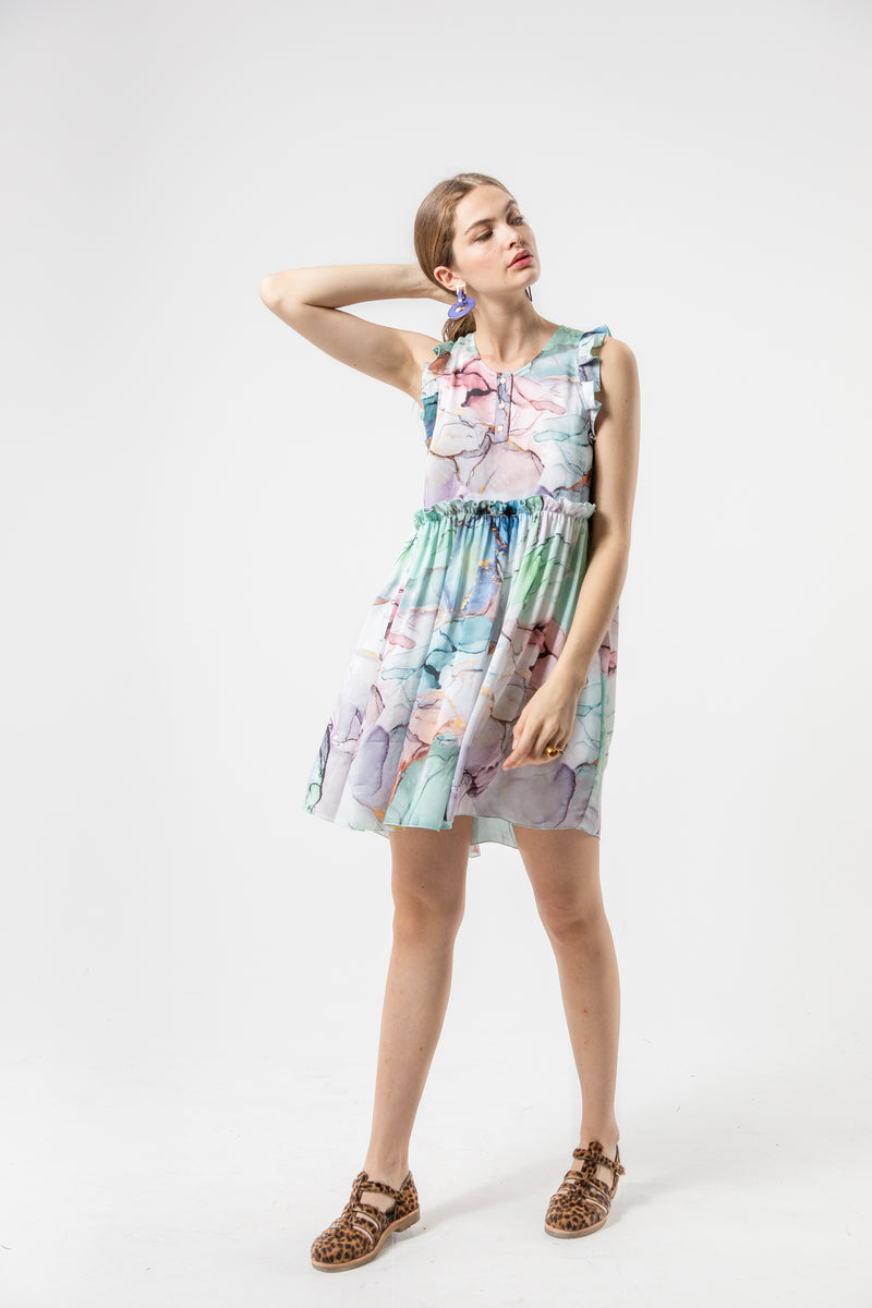 Kaya dress in aquarelle print