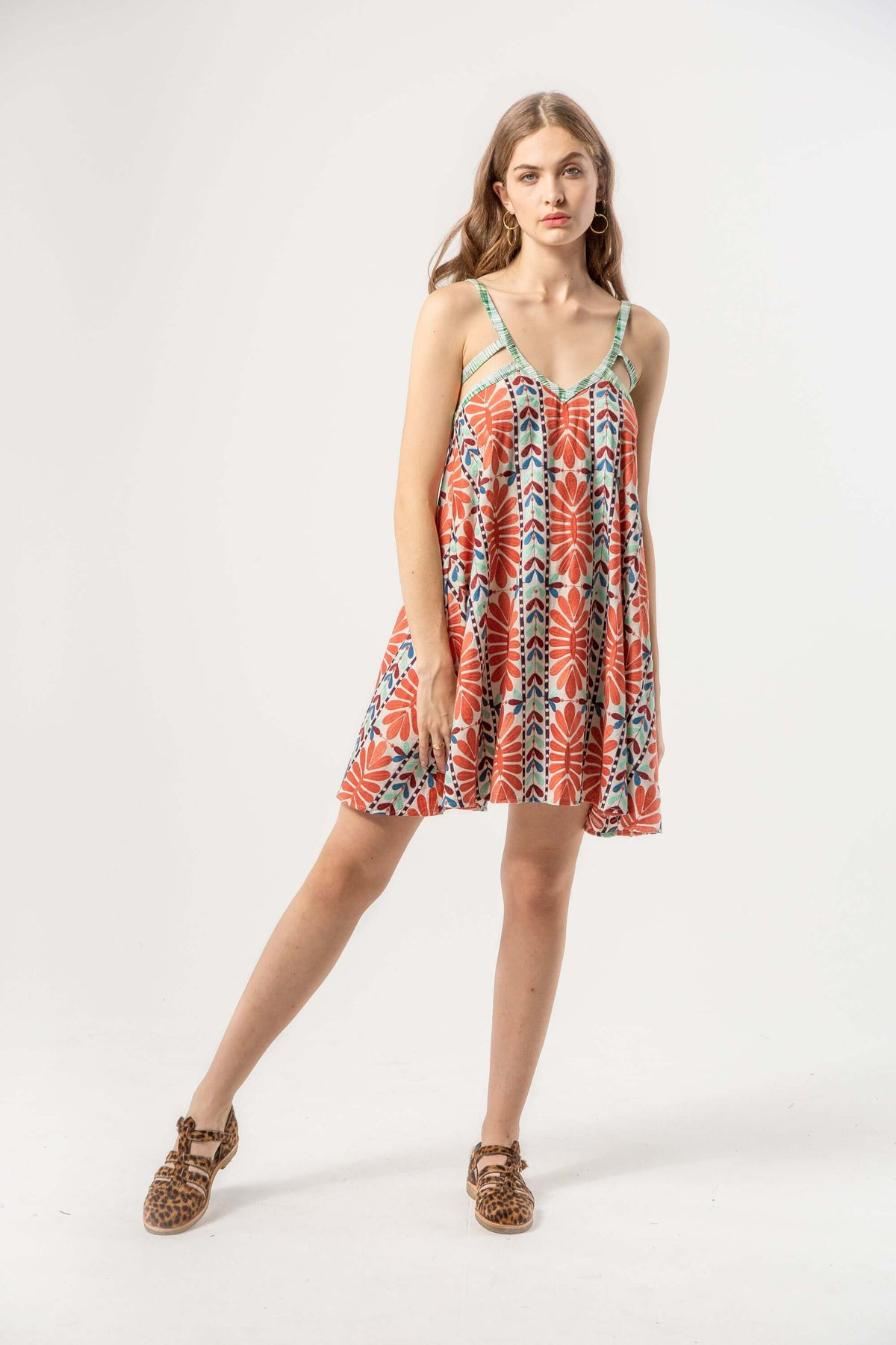 Flavin dress in mexican embroidery