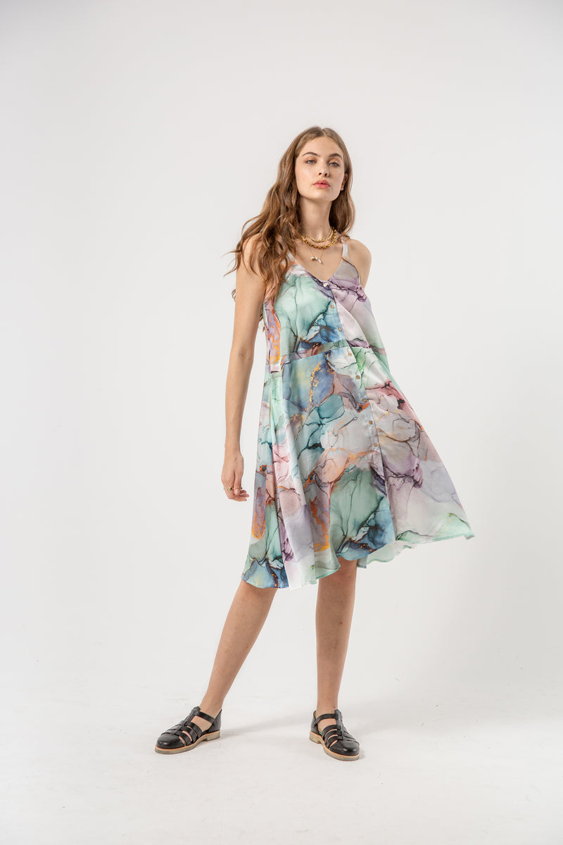 Java dress in aquarelle print