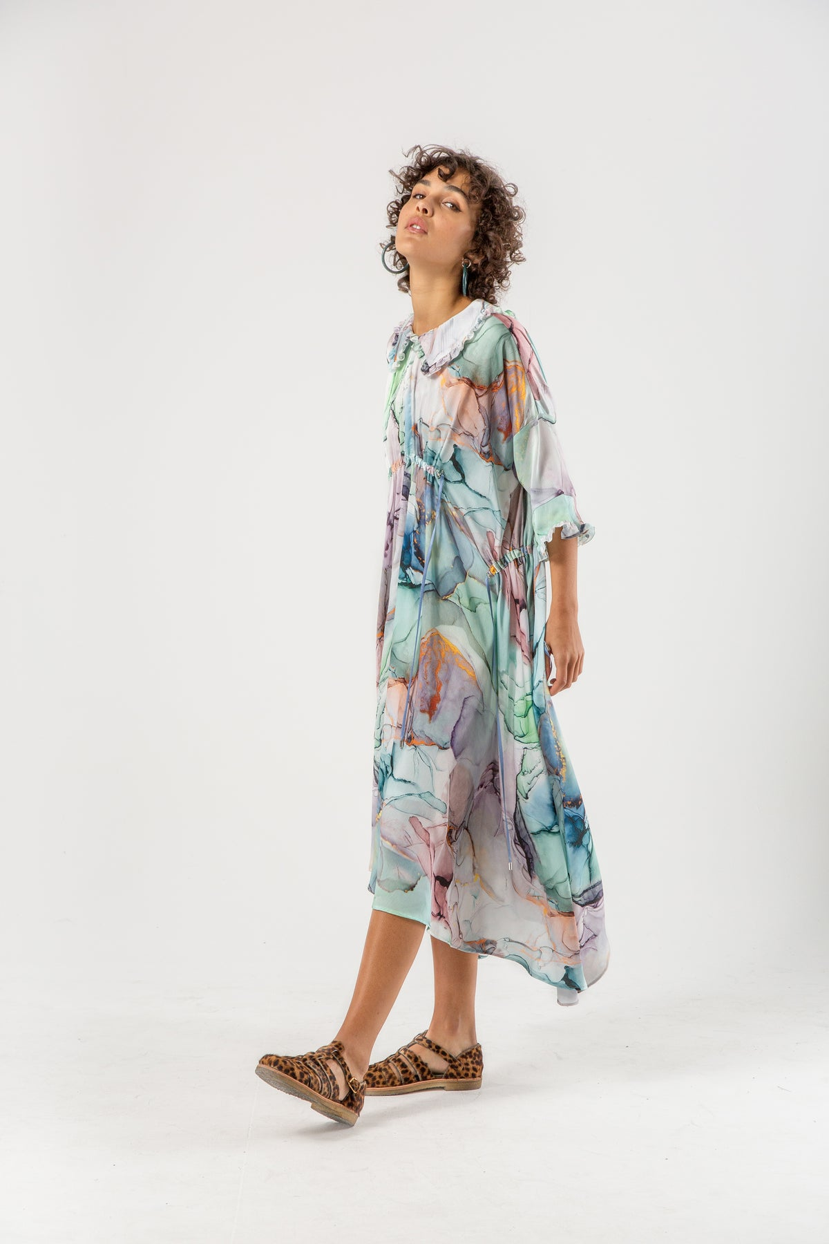 Scarlett dress in aquarelle print