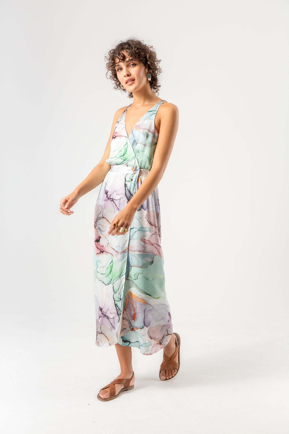 Austria dress in aquarelle print