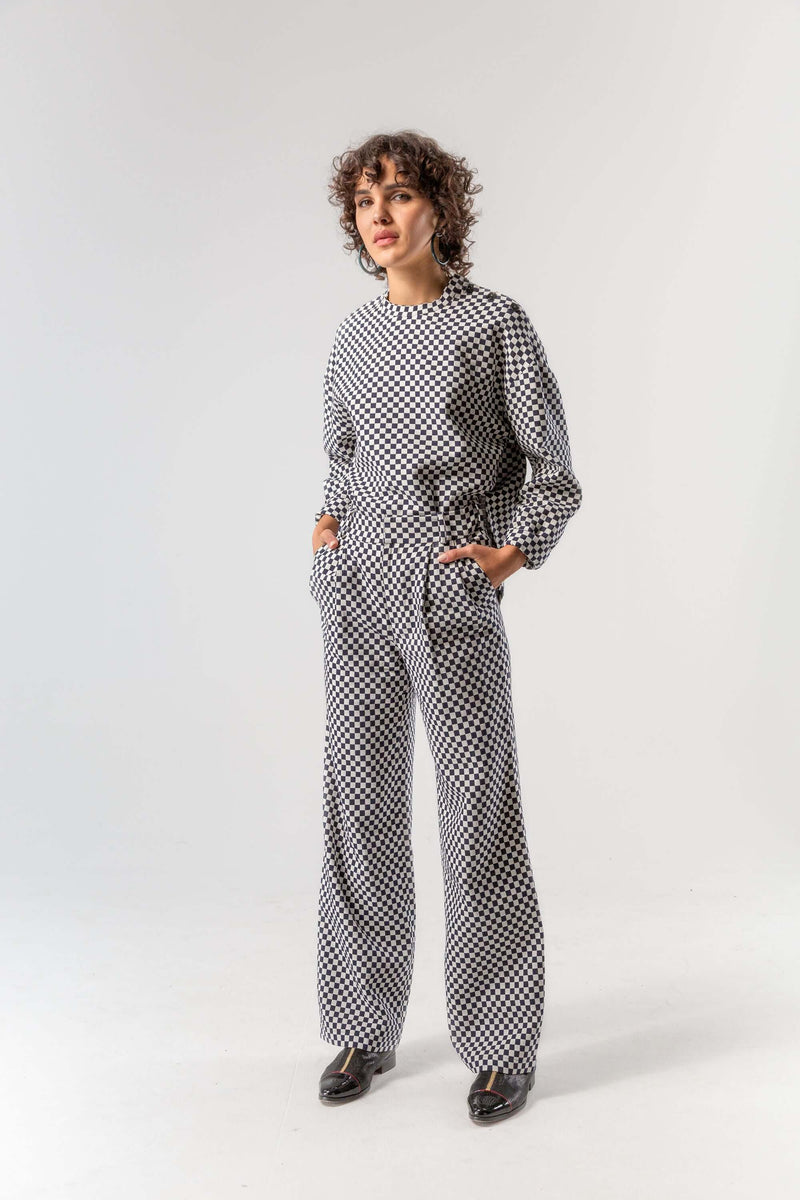 Bobbi sweater in chequered jacquard