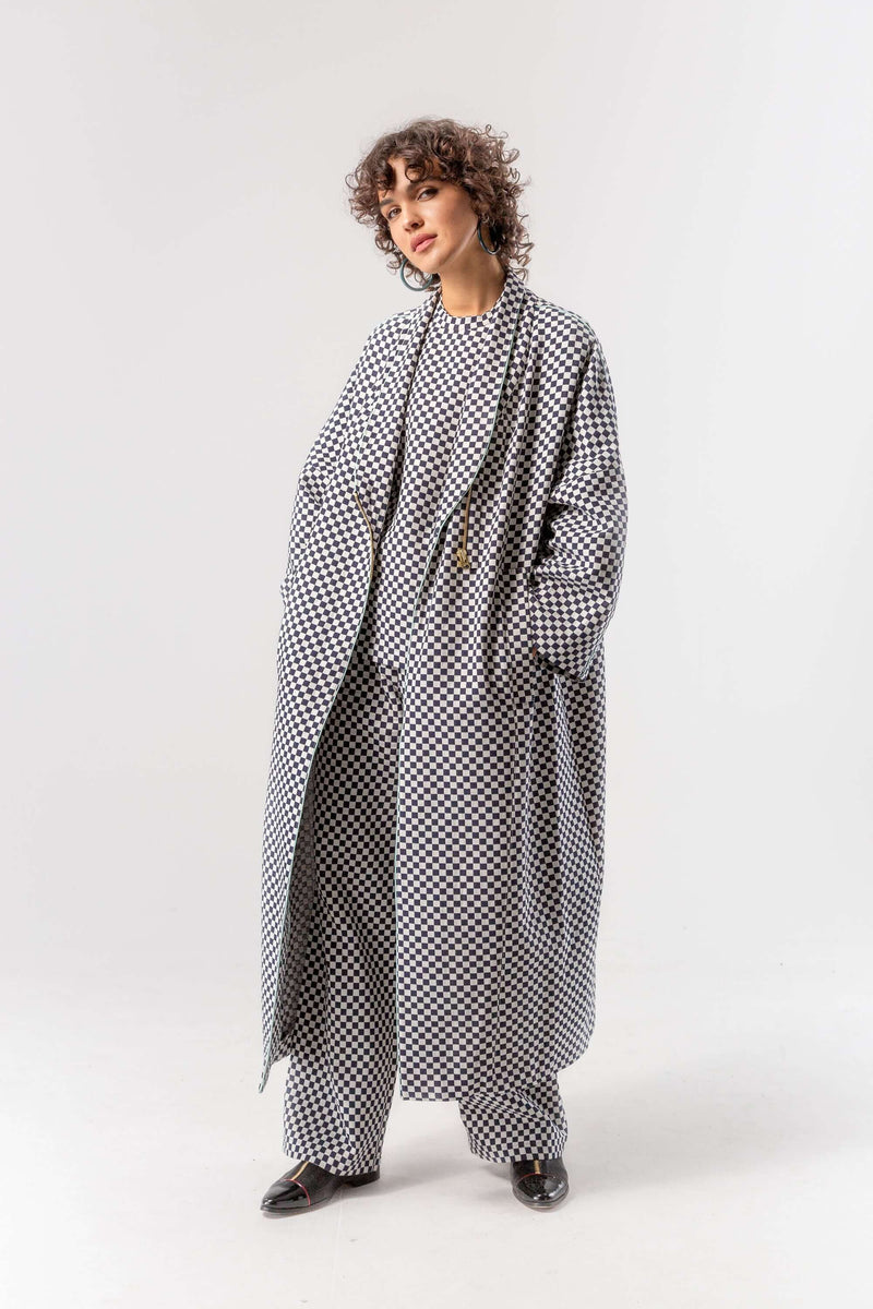 Eren coat in chequered jacquard