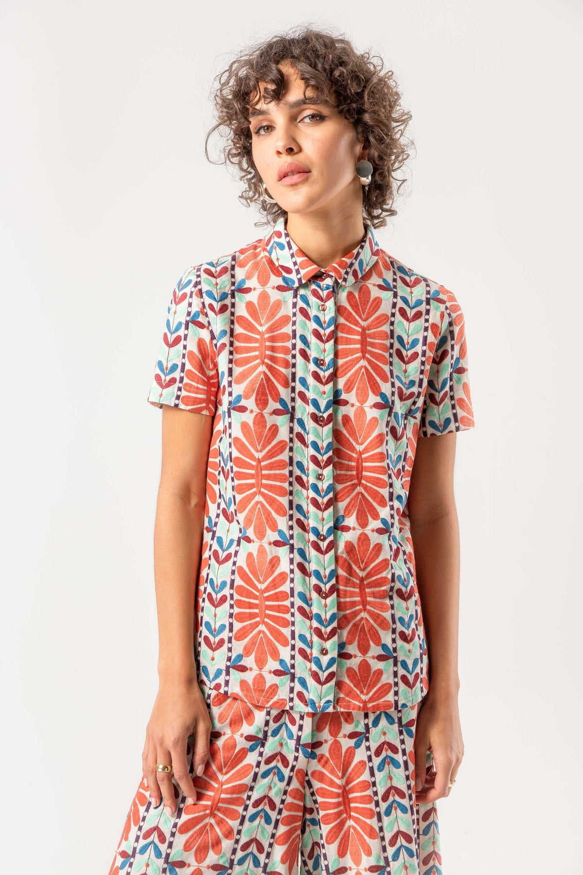 Doria shirt in mexican embroidery