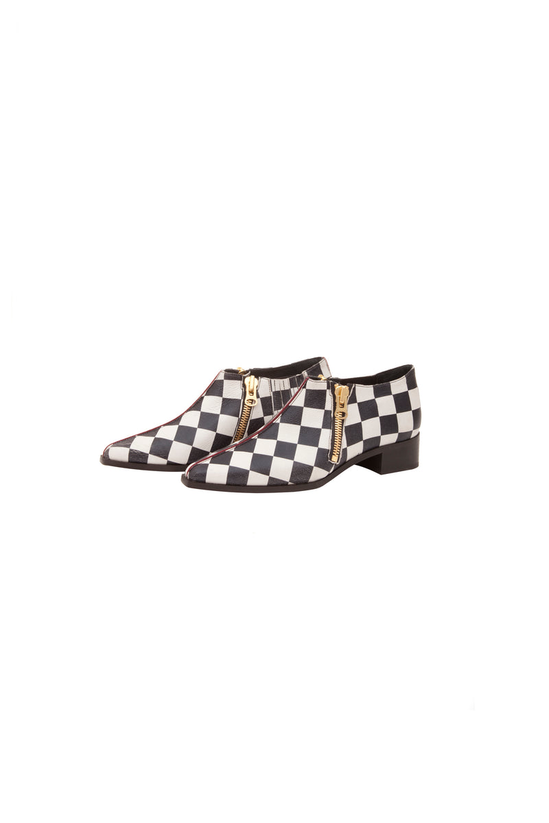 Loafer Jerry in checkerboard leather black and white