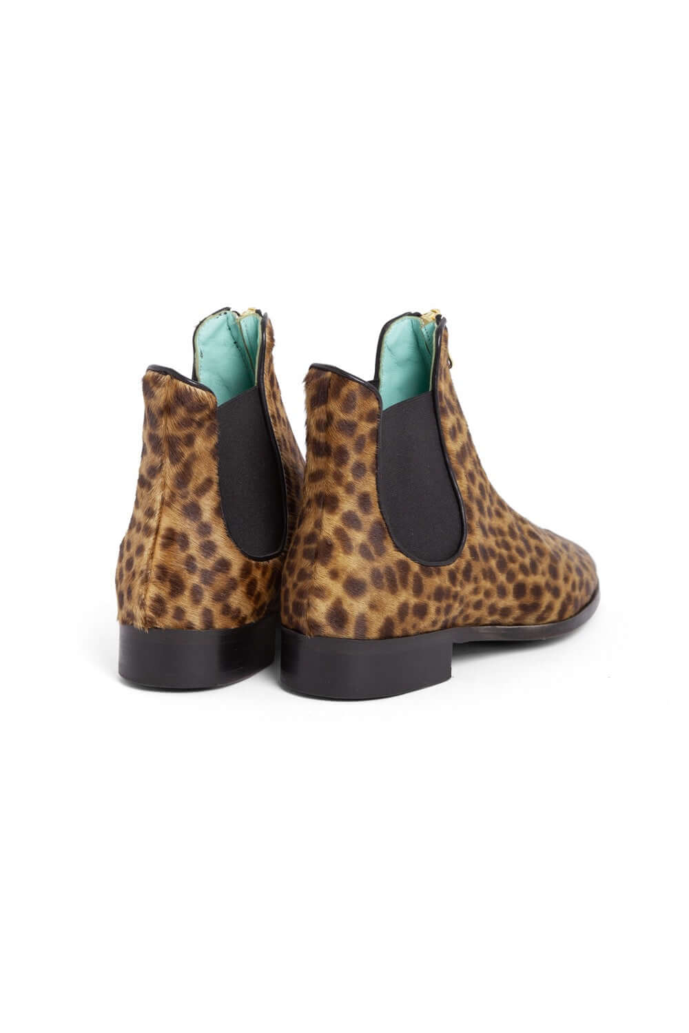 Duchesse boots in leopard printed leather