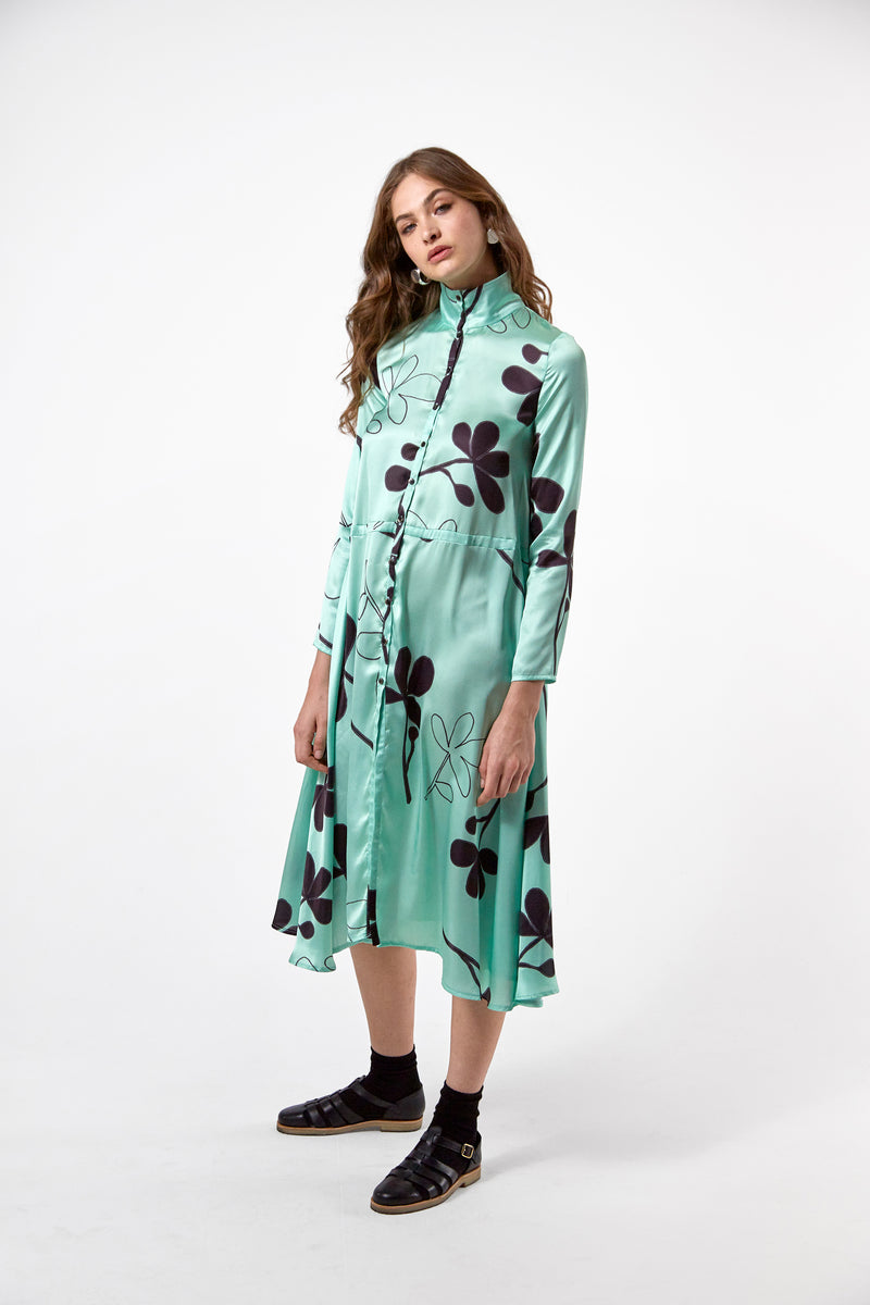 Java dress in clover print