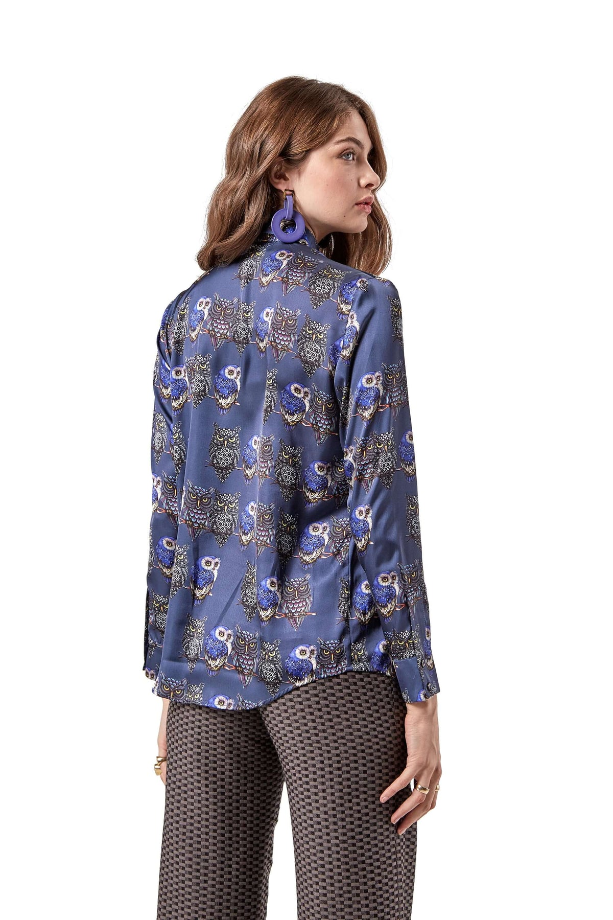 Dori shirt in owl print