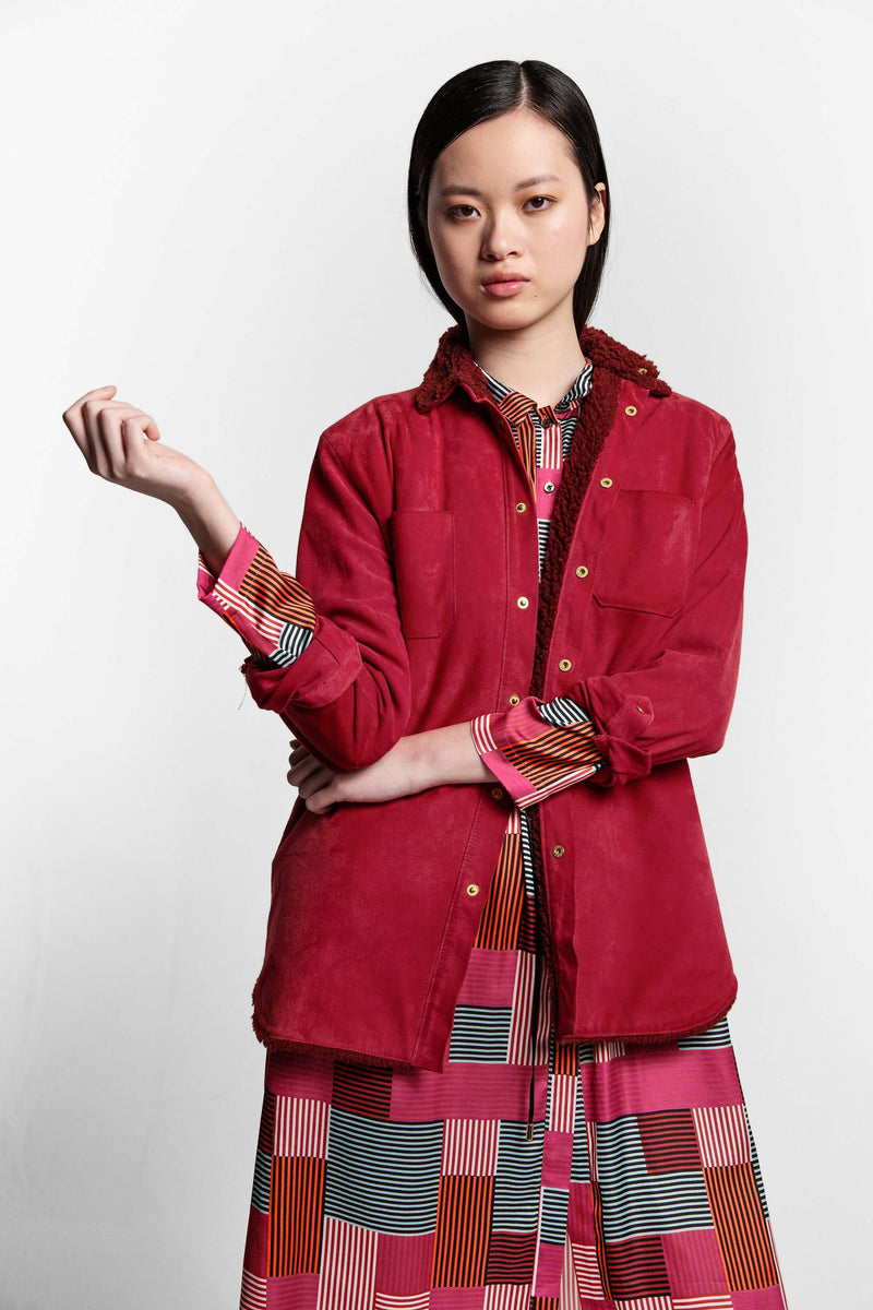 Dori shirt in fuchsia leather