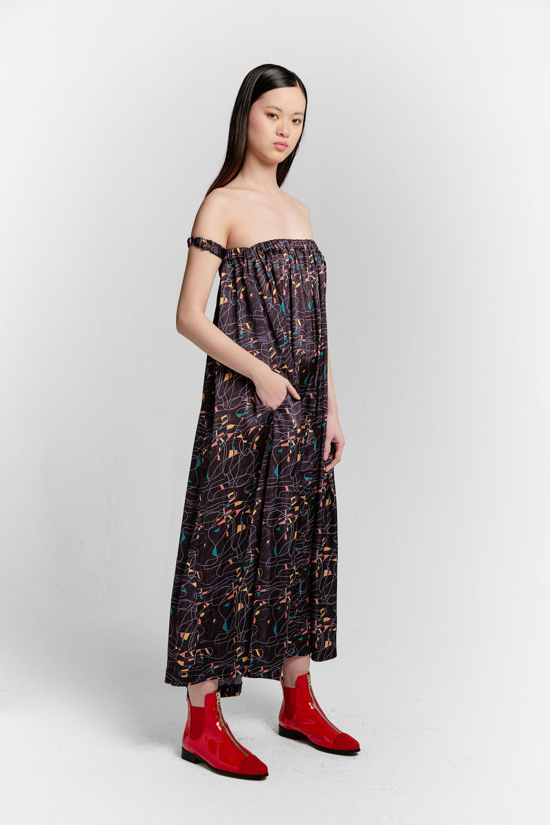 Penelope dress in reflections print