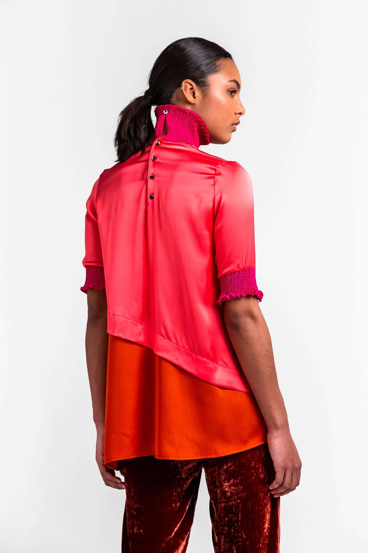 Dries top in hot pink silk
