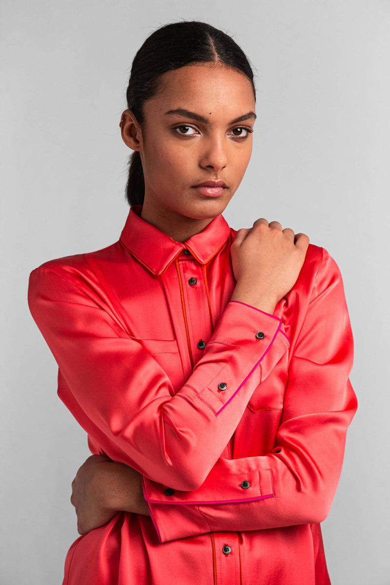 Dori shirt in hot pink silk