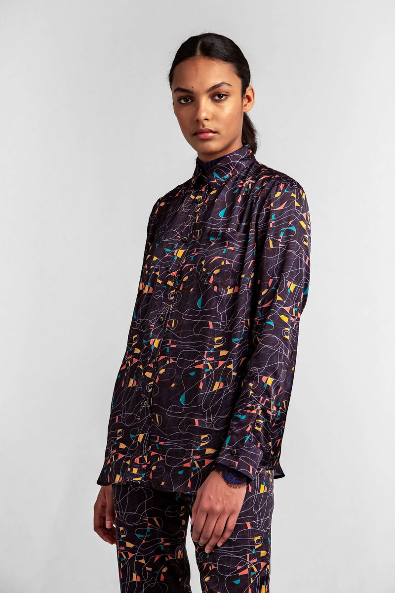 Dori shirt in reflections print