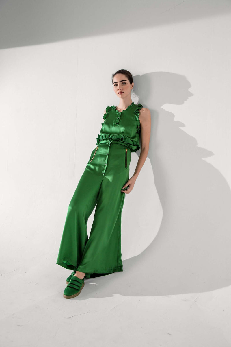 Doll pants in green silk