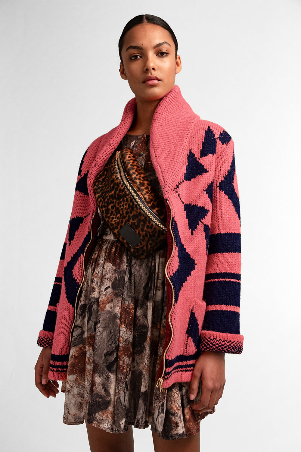 Ralph coat in coral knit