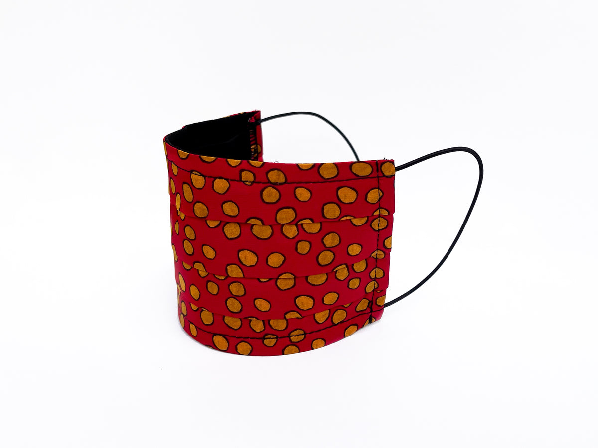 Mask in Red Messy Dots print