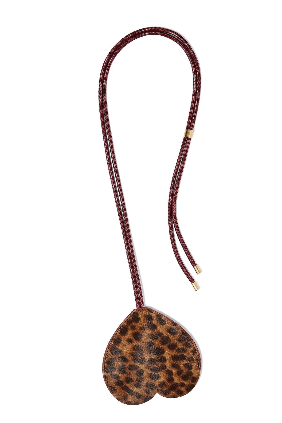 The Minis - Long Heart Keychain in Leopard leather