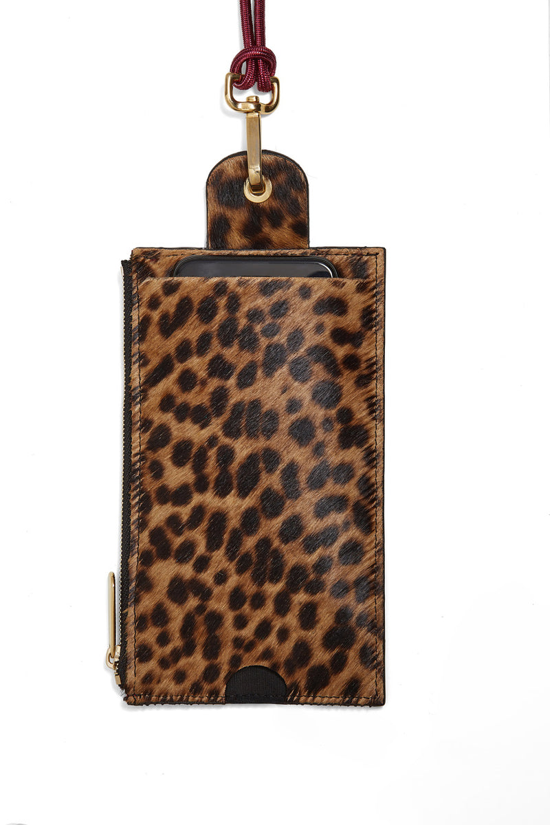 The Minis - Large neck wallet in Leopard printed leather