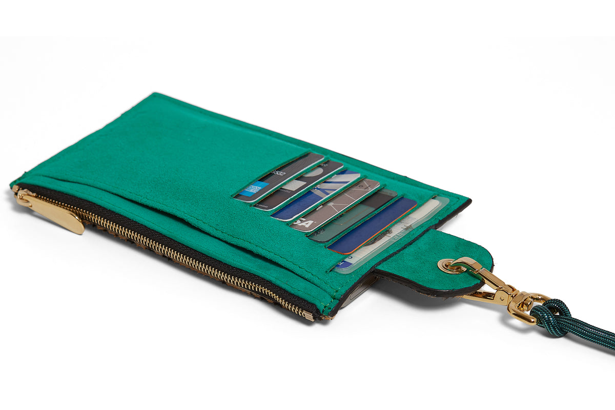 The Minis - Large neck wallet in Cheetah printed leather