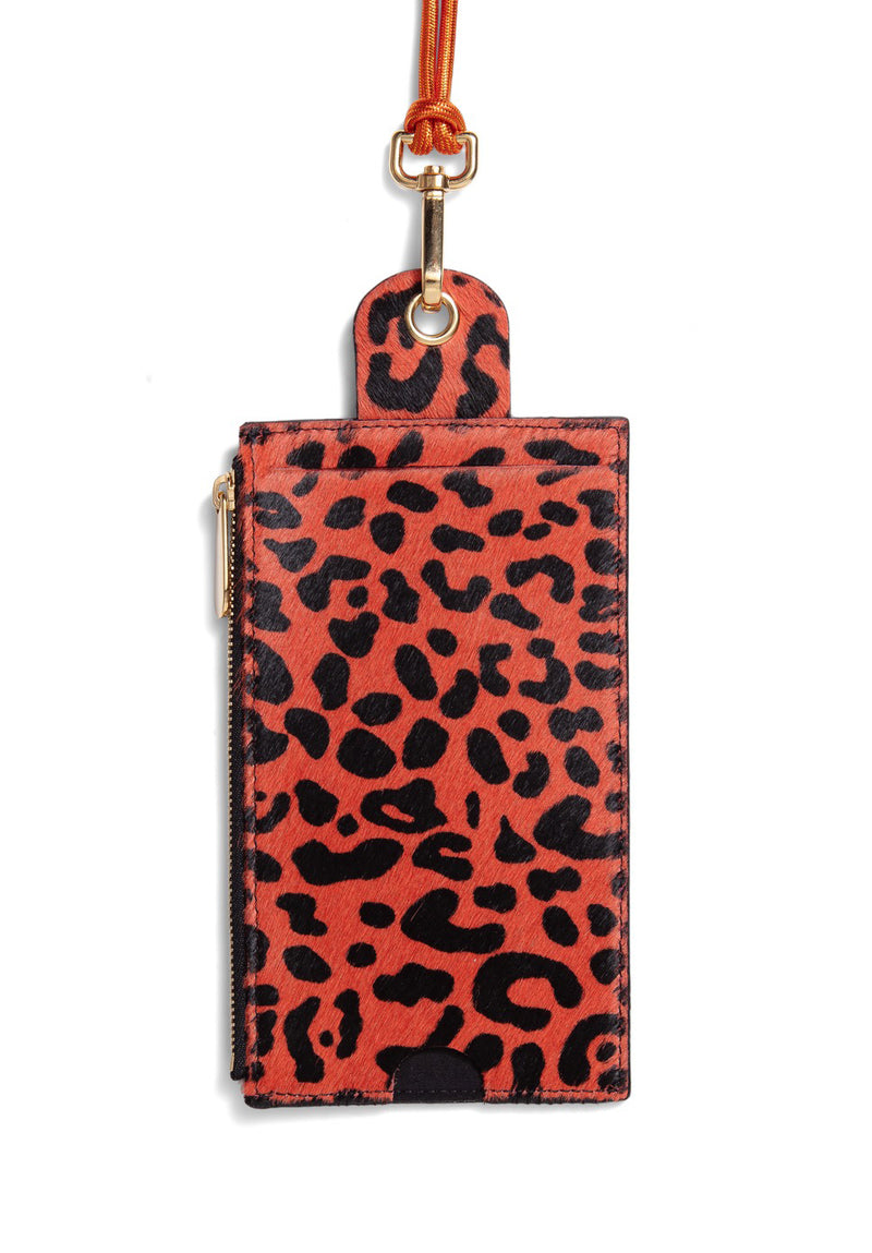 The Minis - Large neck wallet in orange Leopard printed leather