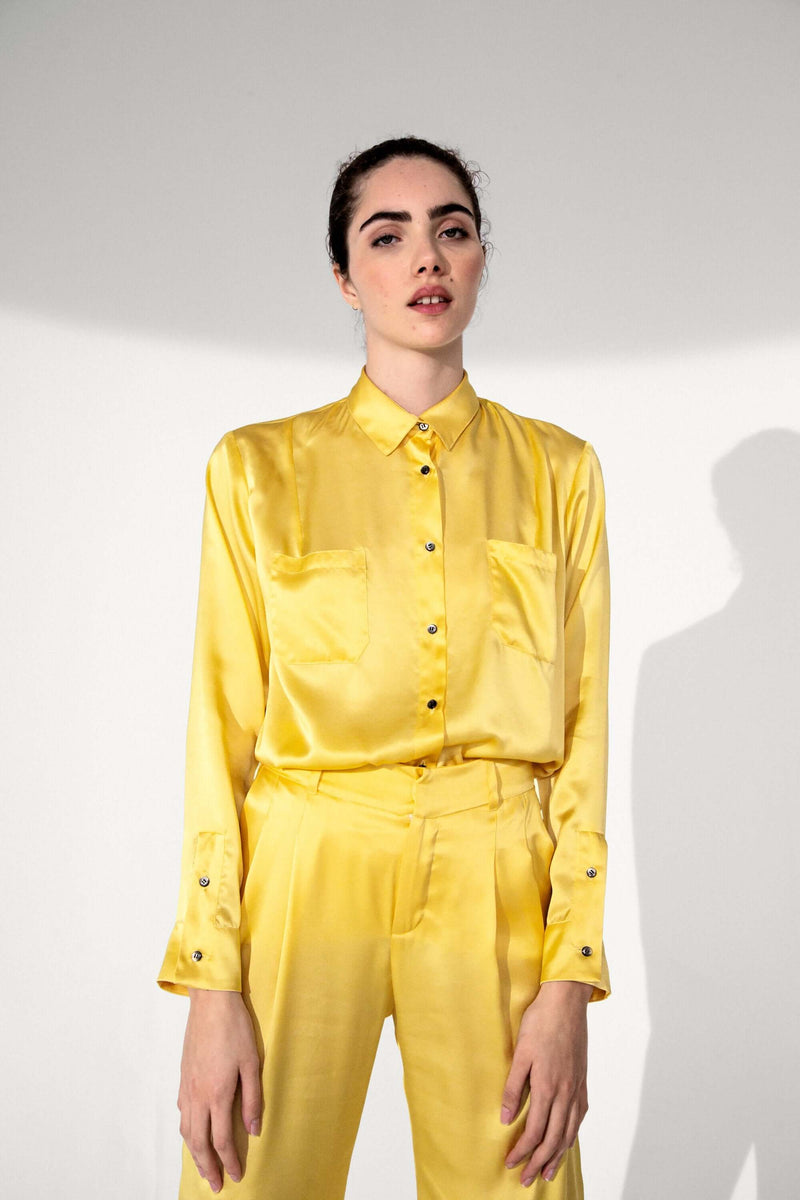 Dori shirt in yellow silk