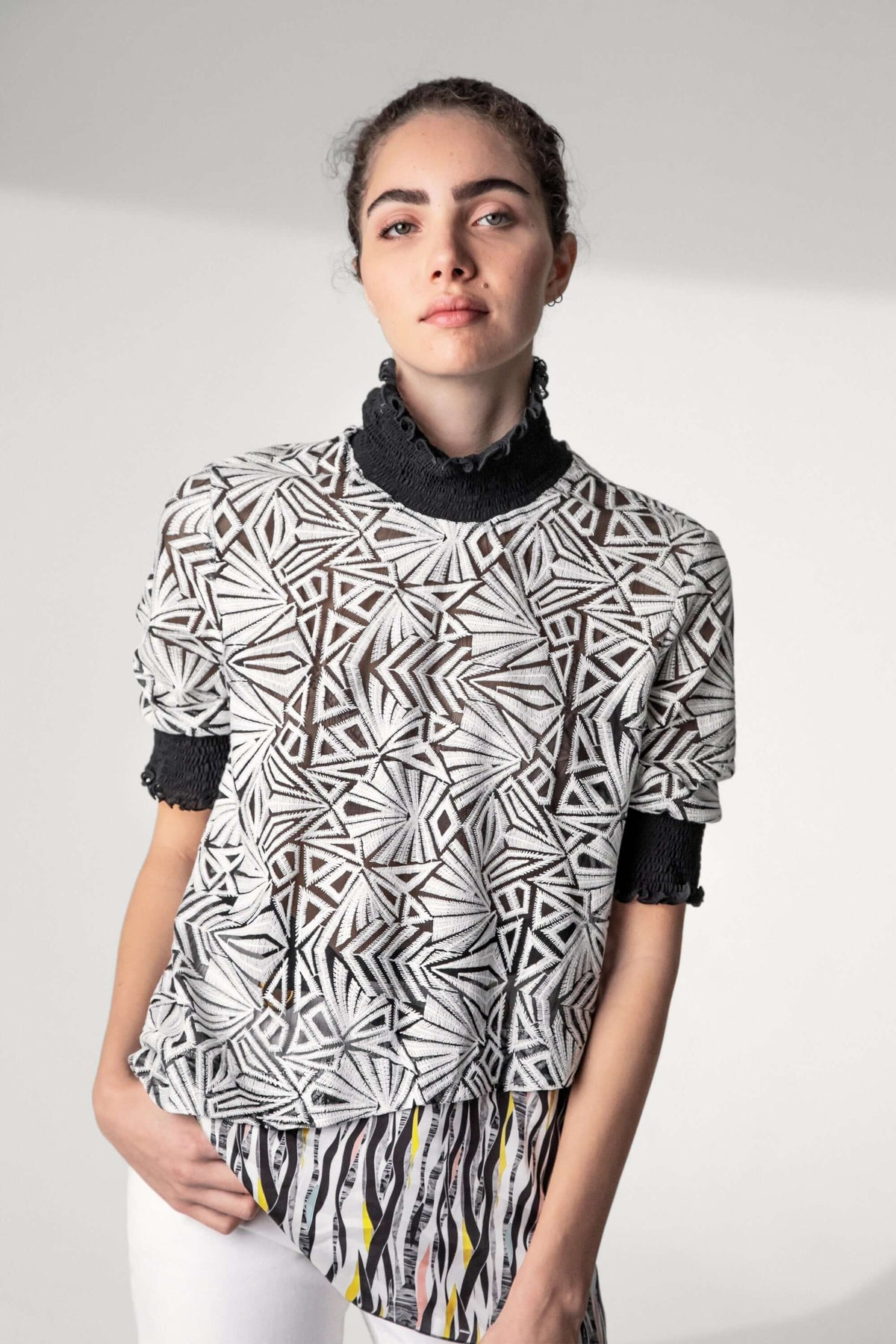 Dries top in embroidered voile