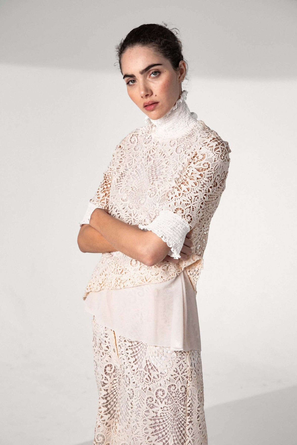 Dries top in vegetal lace