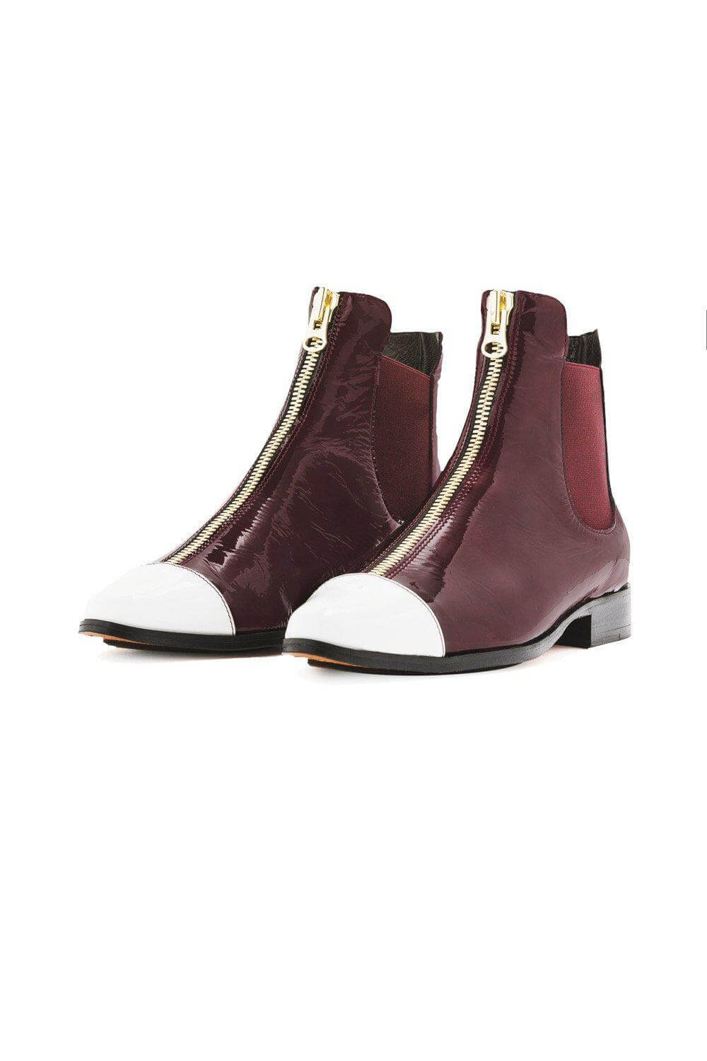 Duchesse boots in burgundy leather