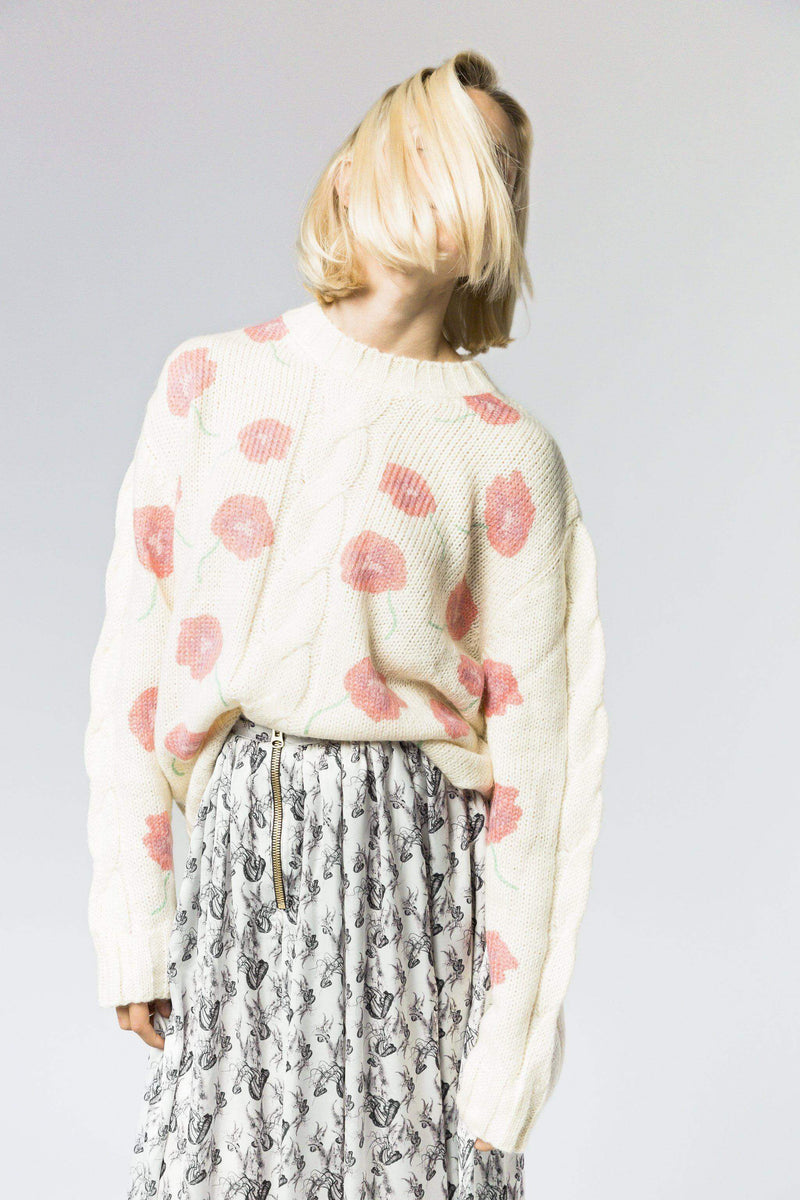 Ellis sweater in ecru/ red poppy print