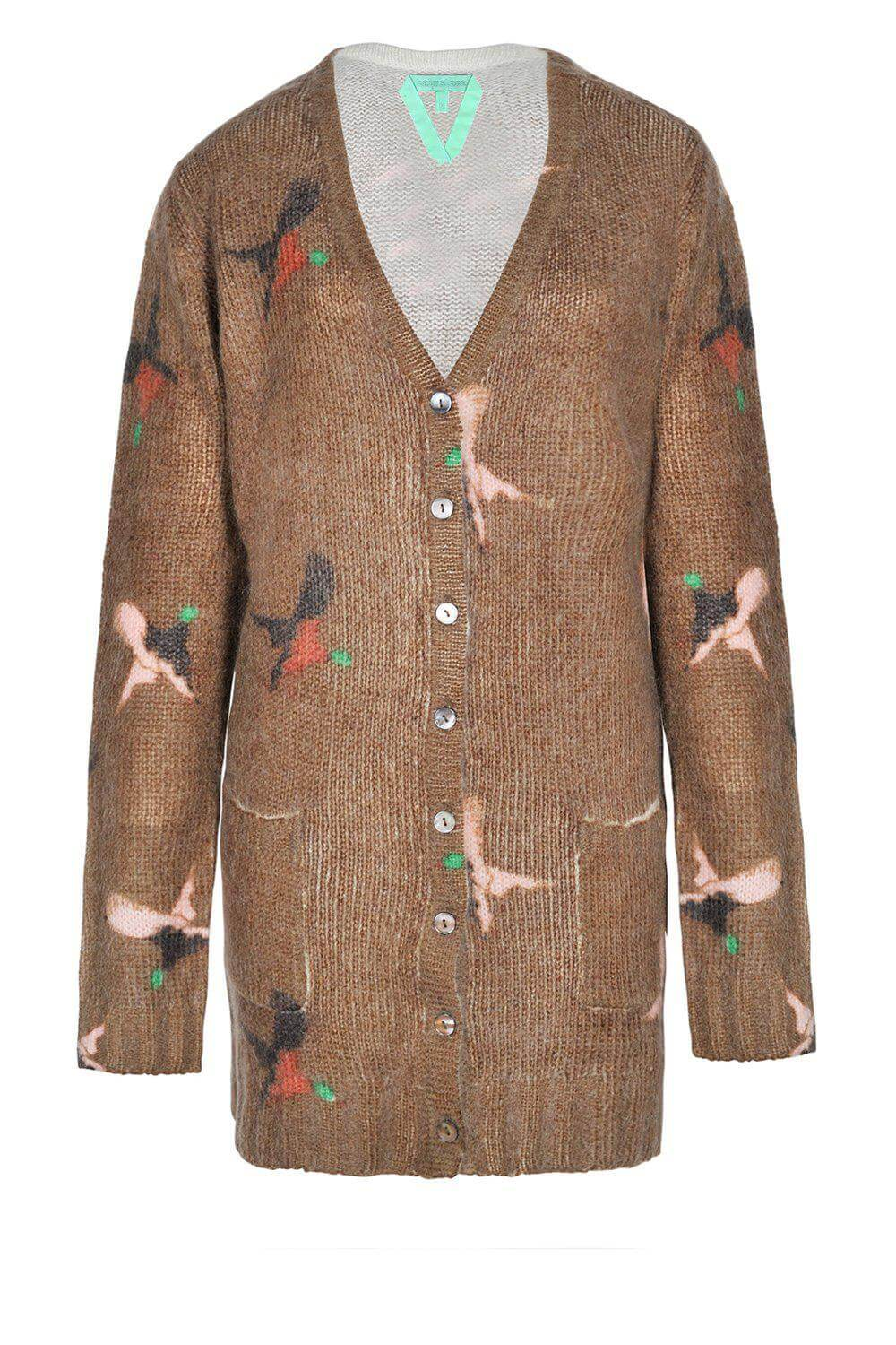 Fiona cardigan chestnut/ ducks print