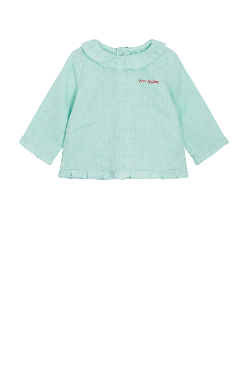 Heimstone x Catimini - Blouse in mint linen