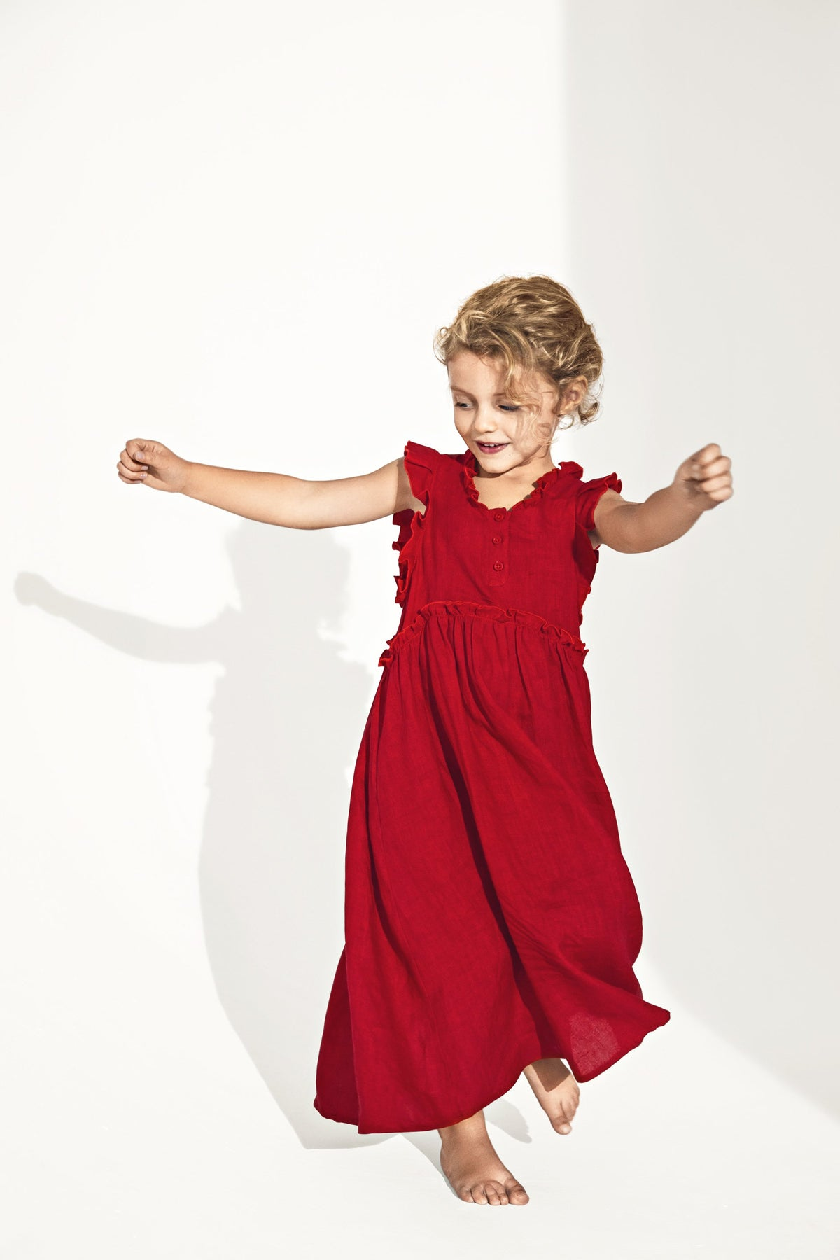 Heimstone x Catimini - Kaya dress in red linen