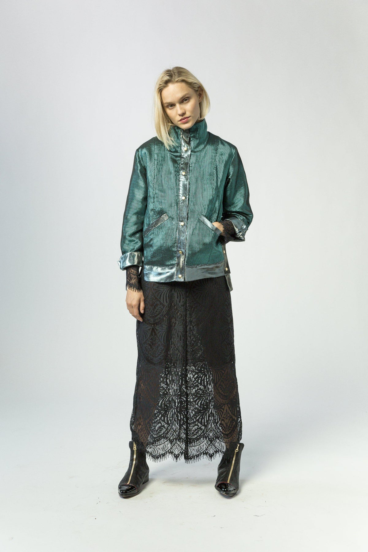 Idol jacket in emeraude ottoman