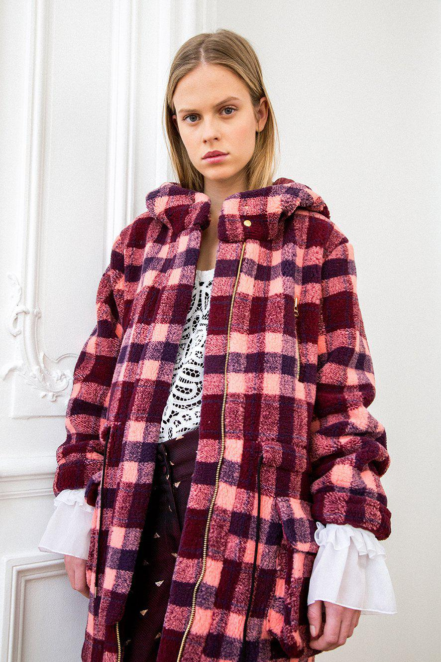Jacobs parka in checked wool