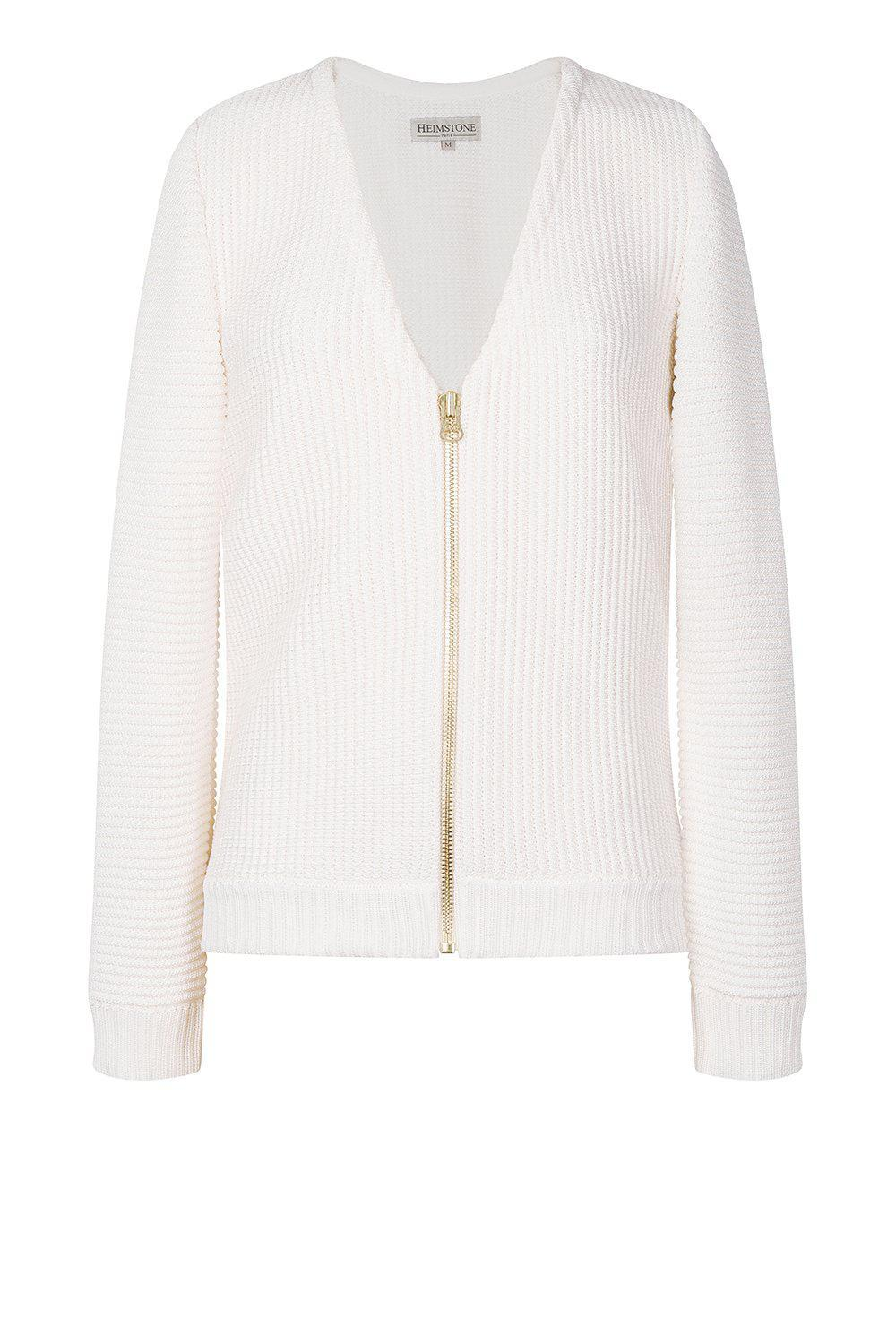 Petite cardigan in white knit