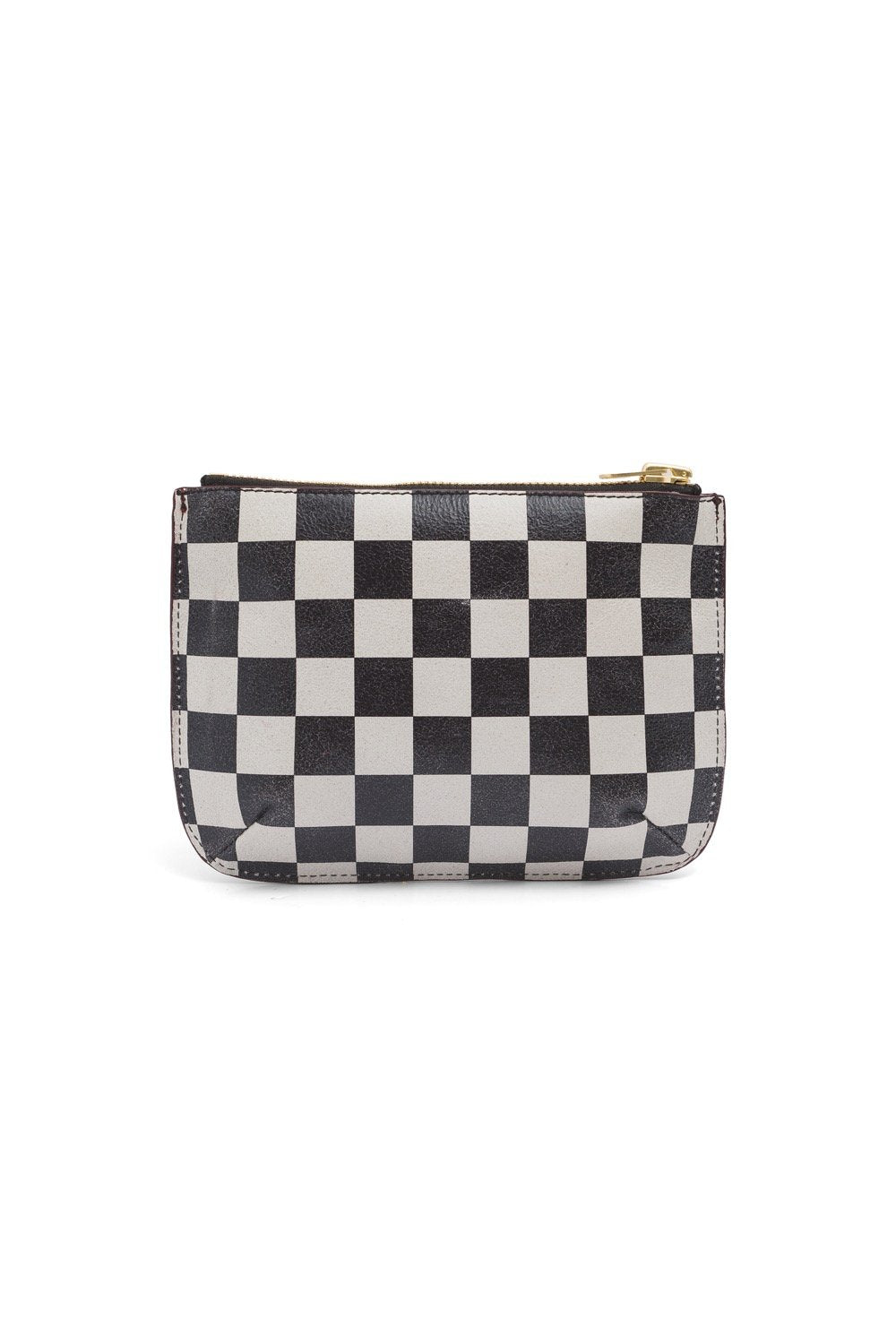 Pouch in checkered leather & plum suede