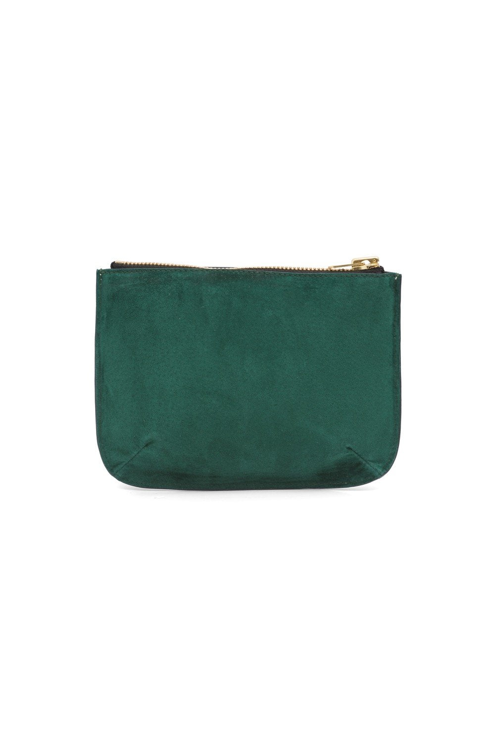 Pouch in green suede & blue leather