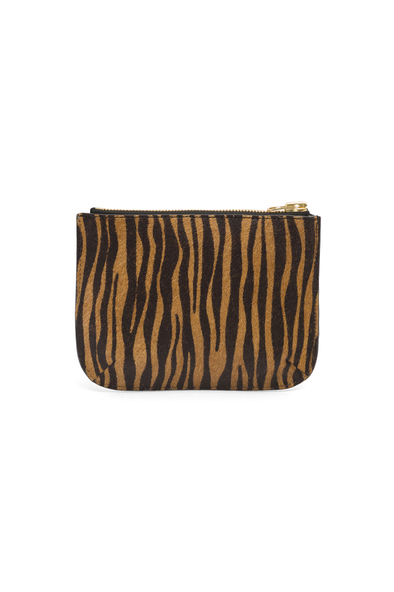 Pouch in tiger printed & silver leather