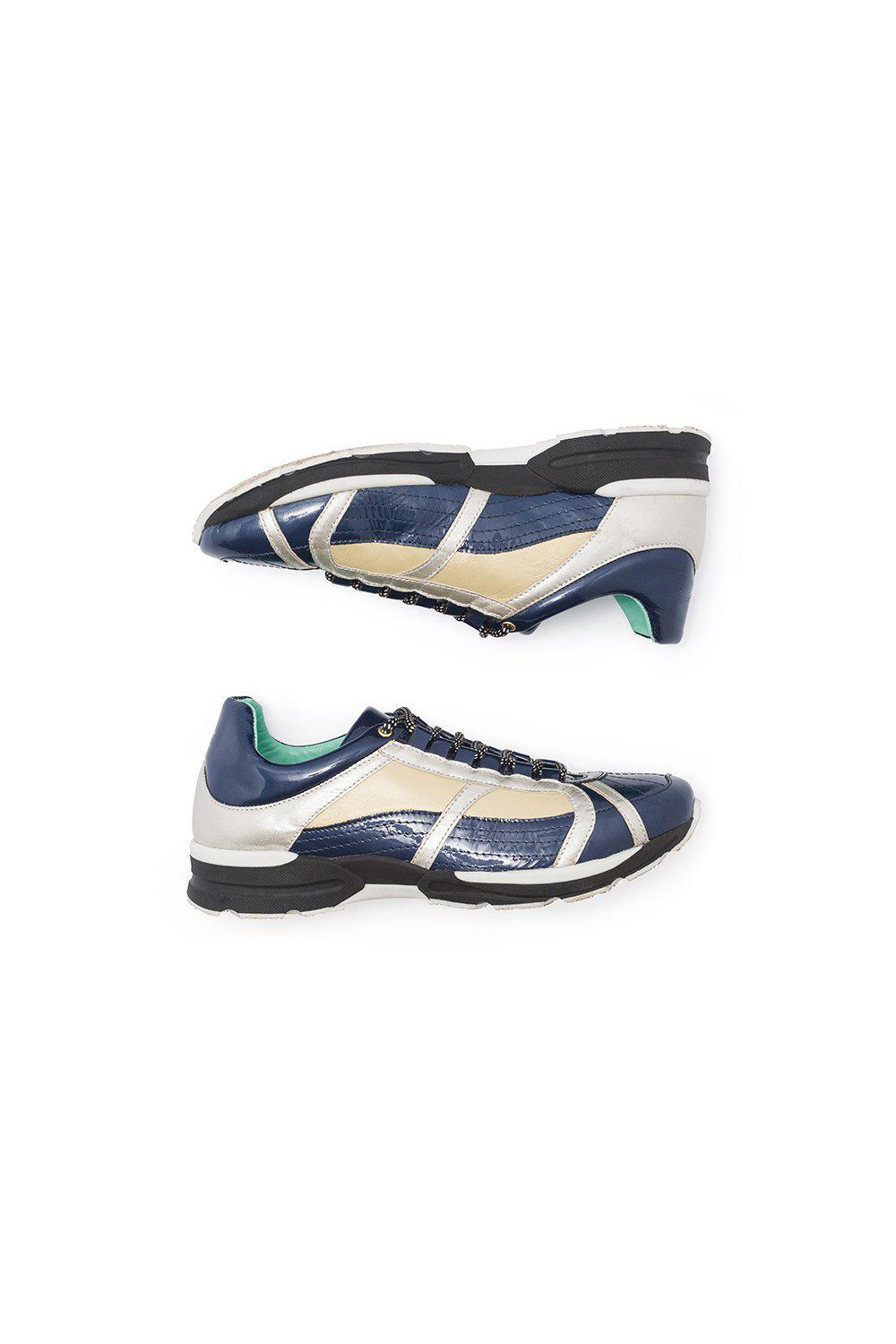 Running shoes in blue leather