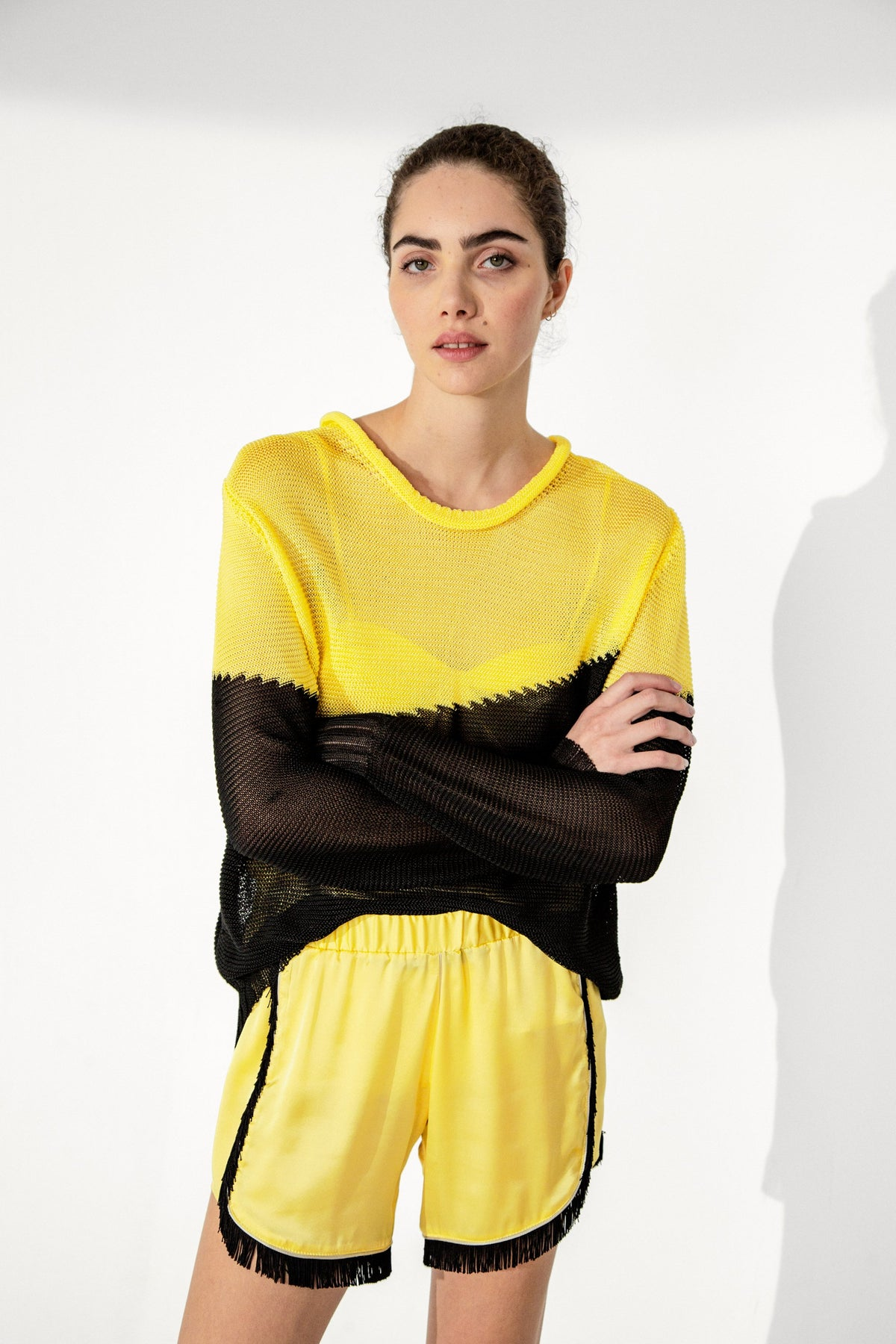 Spiro short in yellow silk