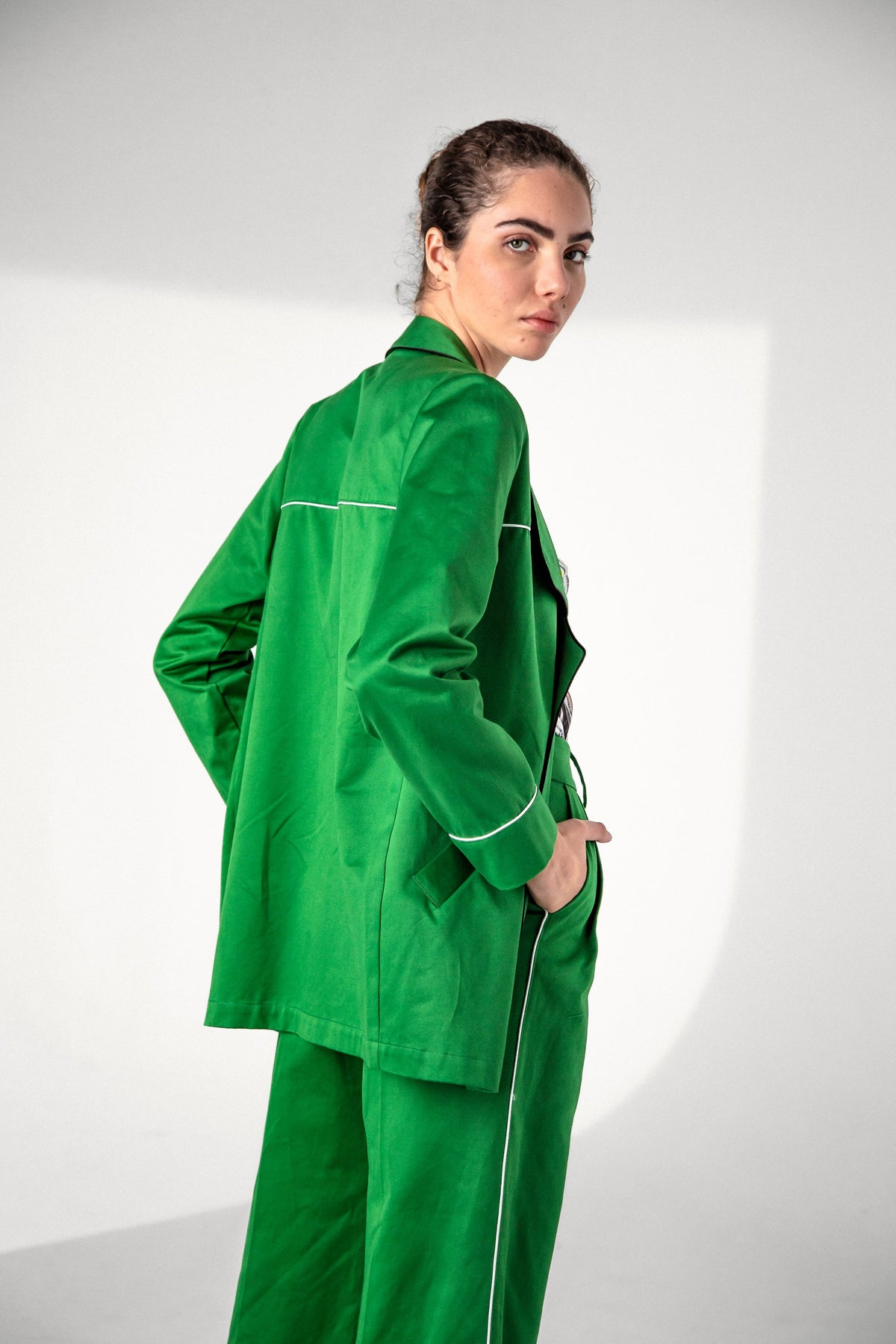 Tichy coat in green canvas