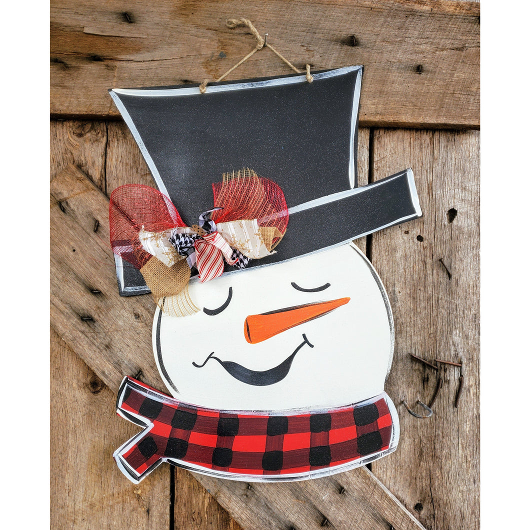 Buffalo Plaid Snowman Face with Scarf