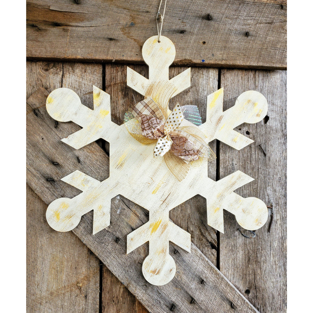 Snowflake in cream, grey or blue colors