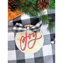Load image into Gallery viewer, Joy round distressed ornament