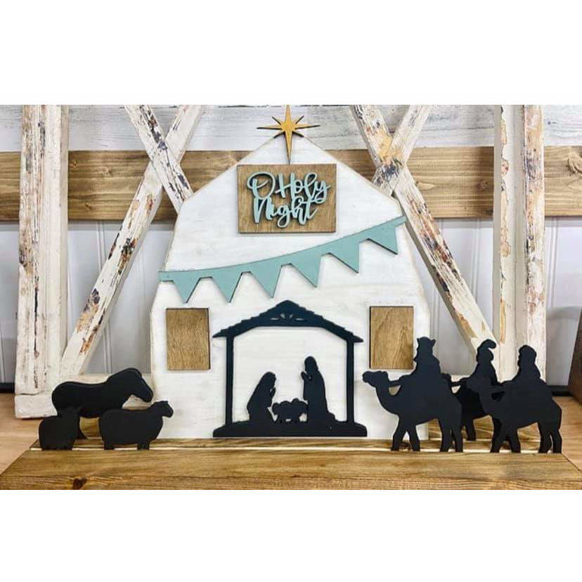 Stand up Christmas Barn nativity